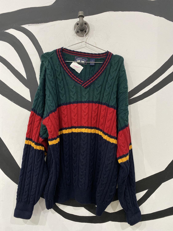 V-Neck Striped Sweater Size L