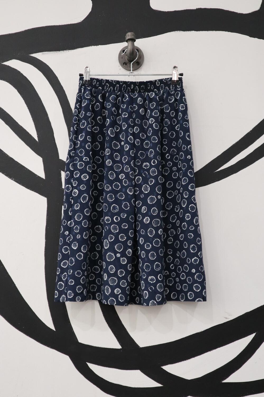 Navy Patterned Lightweight Skirt- Small