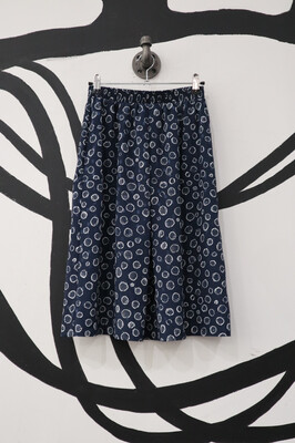 Navy Patterned Lightweight Skirt- Small