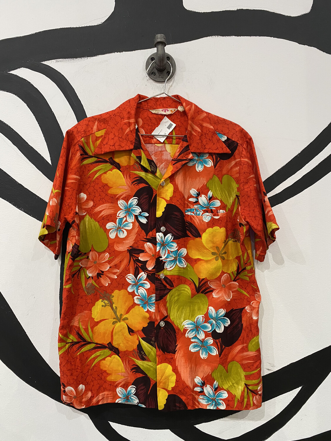 'Sears Hawaii' Orange Hawaiian Shirt - Men's S