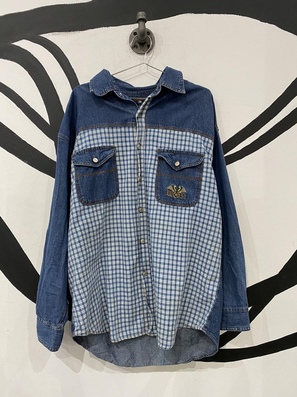 Mix Pattern Denim Shirt - Men's XL