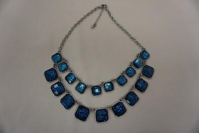 Faux blue stone tier necklace