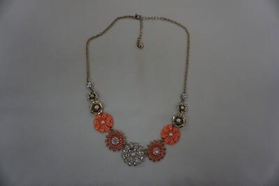 Orange flowers with Faux Diamonds Necklace