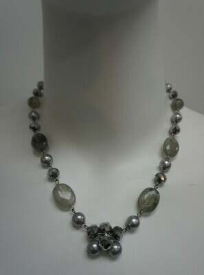 Silver tone necklace with beads