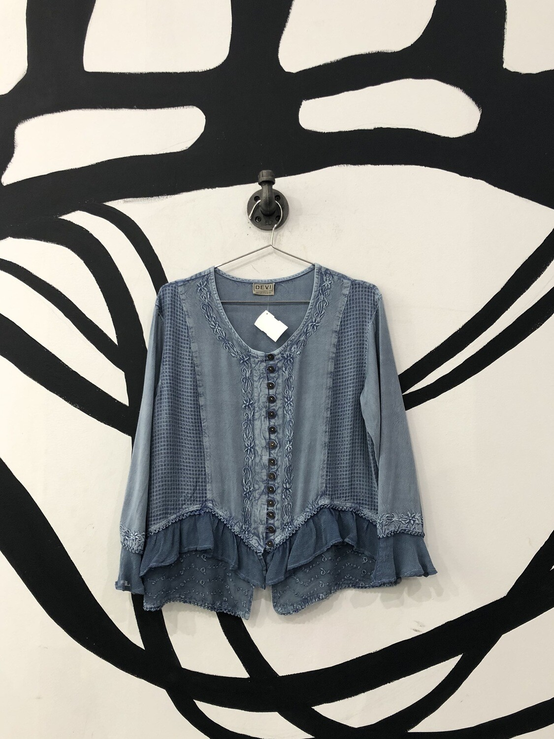 Button Down Blue Summer Top Size S/M