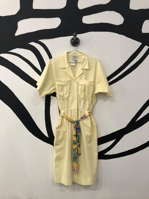 Button Front Cinch Collar Dress Size L