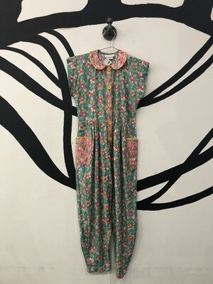 Short Sleeve Floral Baby Collar Jumpsuit Size S