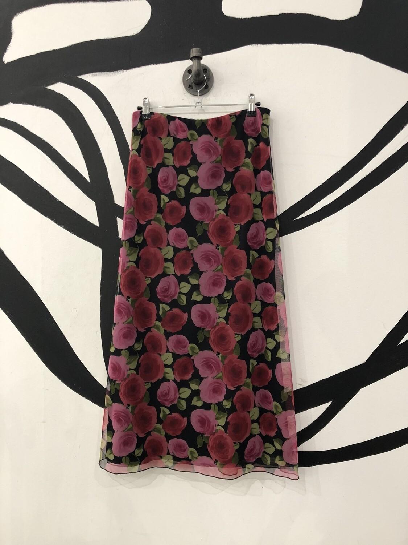 Mesh Floral Longline Skirt Size S/M