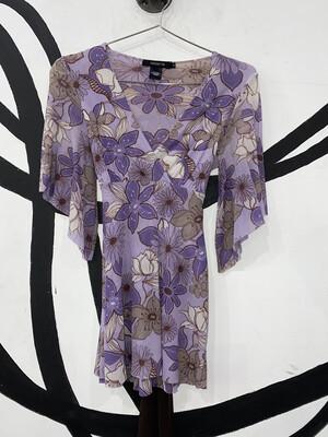 Women's Floral Mesh Print Blouse-Small