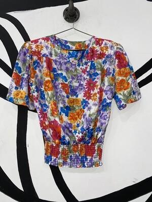 Women's Floral Print Blouse-Size 8
