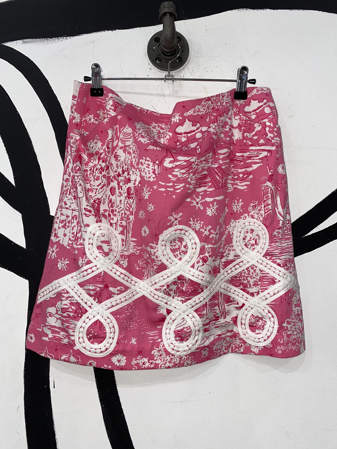 Women's Printed Skirt With Lace Detail Size 6
