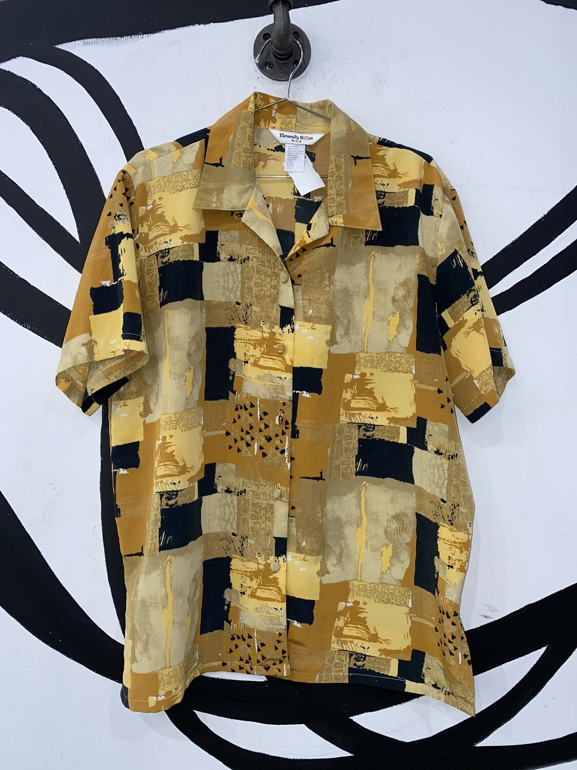 Men's Abstract Printed Short Sleeve Button Up-Size Large