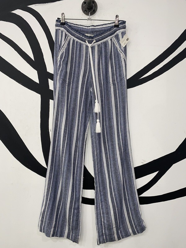 Women's Striped Linen Drawstring Pants-Size 25 Waist