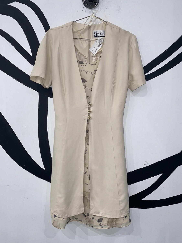 Women's Button Detail Layered Dress-Size 8