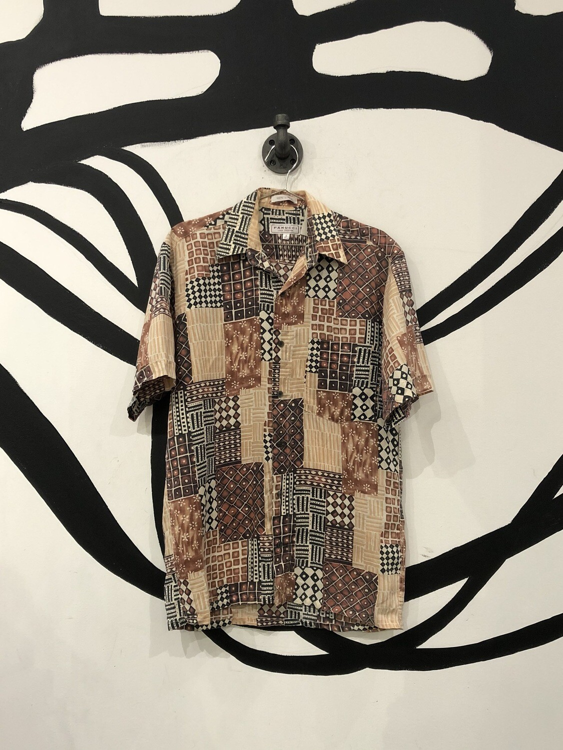 Fanucci Linen Patterned Short Sleeve Button Up Size S