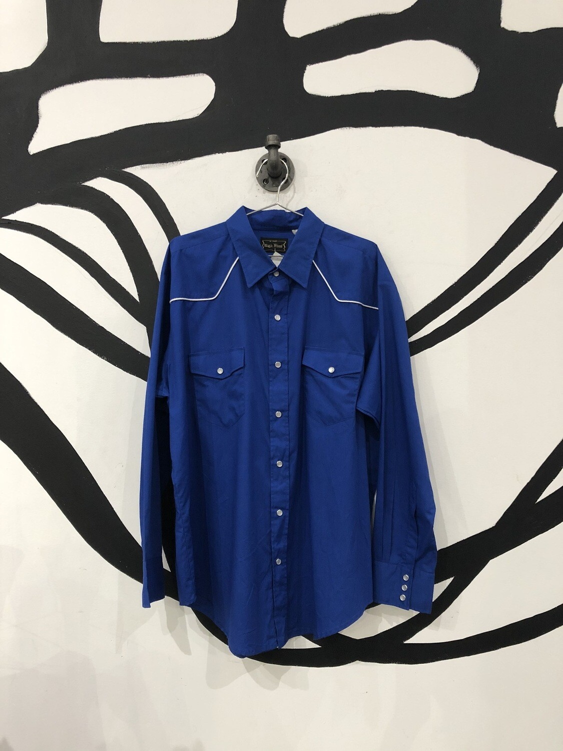 Royal Blue High Noon Western Pearl Snap Button Up Shirt Size L