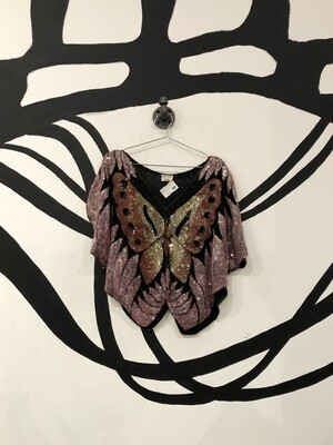 Butterfly Sequins Festival Top Size M