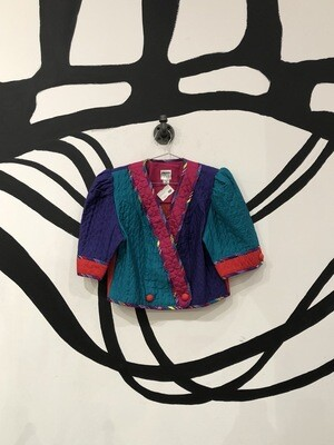 80's Multicolored Quilted Blazer Size M