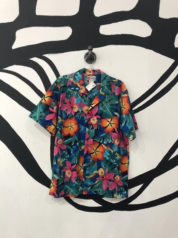 Hawaiian Original Tropical Short Sleeve Button Up Size L
