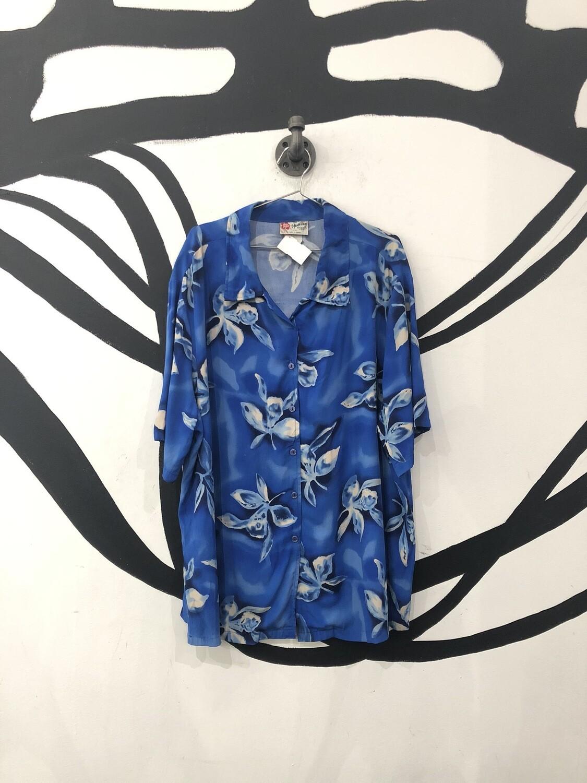 Hawaiian Original Light Cobalt Short Sleeve Button Up Size 2XL
