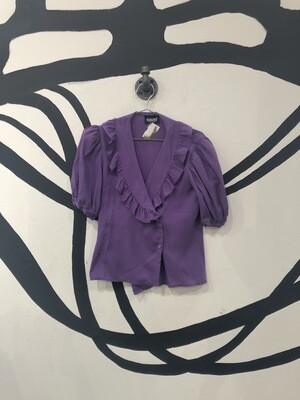 Sauci California Balloon Sleeve Purple Top Size S