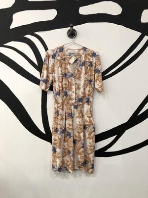 Floral Tan Button-Front Romper Size M