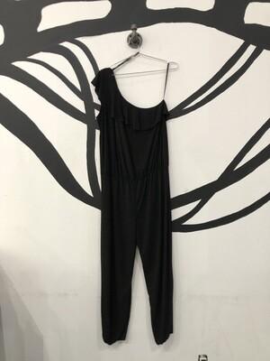One Sleeve Black Ruffle Jumpsuit Size L
