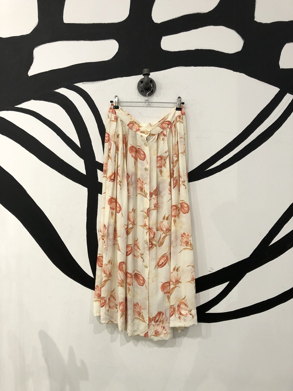 Floral Button Front Midi Skirt Size M