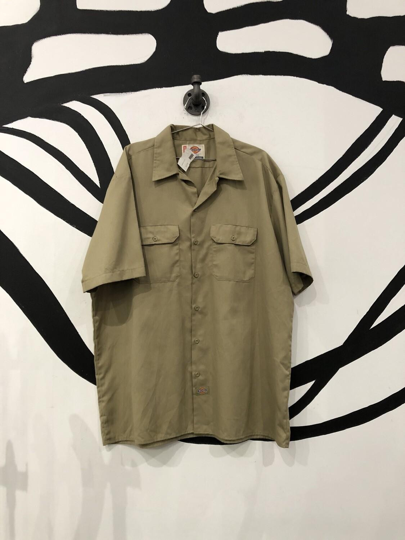 Tan Dickies Workwear Short Sleeve Button Up Size XL