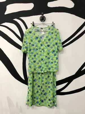 Lime Green Blue Floral Button Up Set Size L