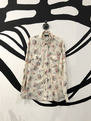 Floral Pearl Snap Button Long Sleeve Shirt Size M
