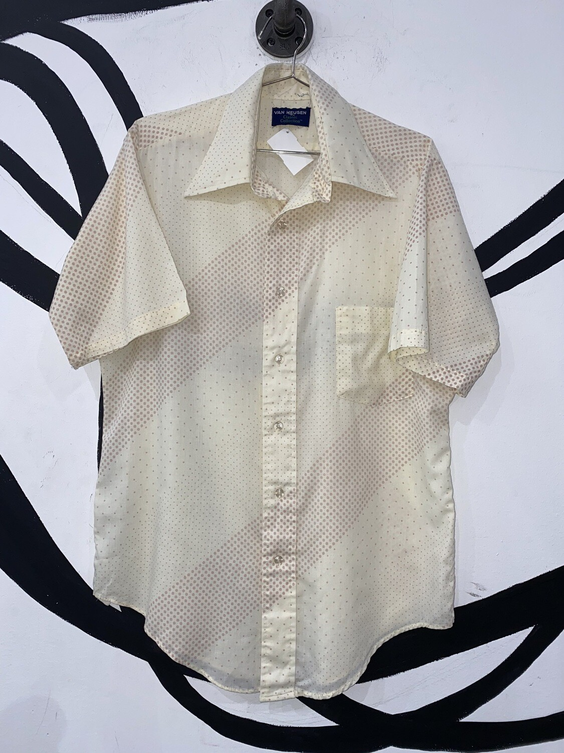 Men's Micro Dot Printed Button Up-Large