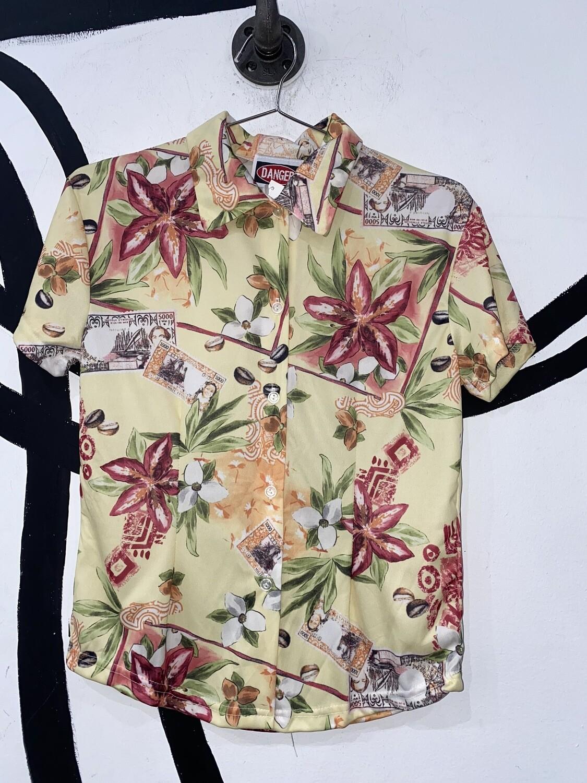 Women's Hawaiian Print Button Up-Small