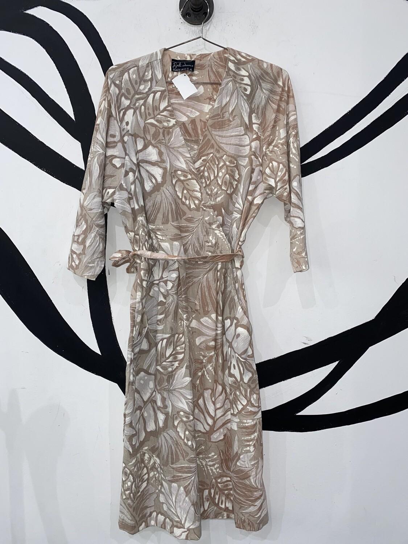 Printed Linen Wrap Dress-Medium
