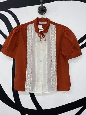 Burnt Orange Lace Detail Collared Blouse Size M