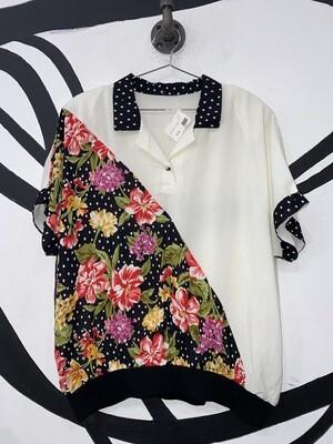 Diagonal Split Floral Collared Polo Top Size L