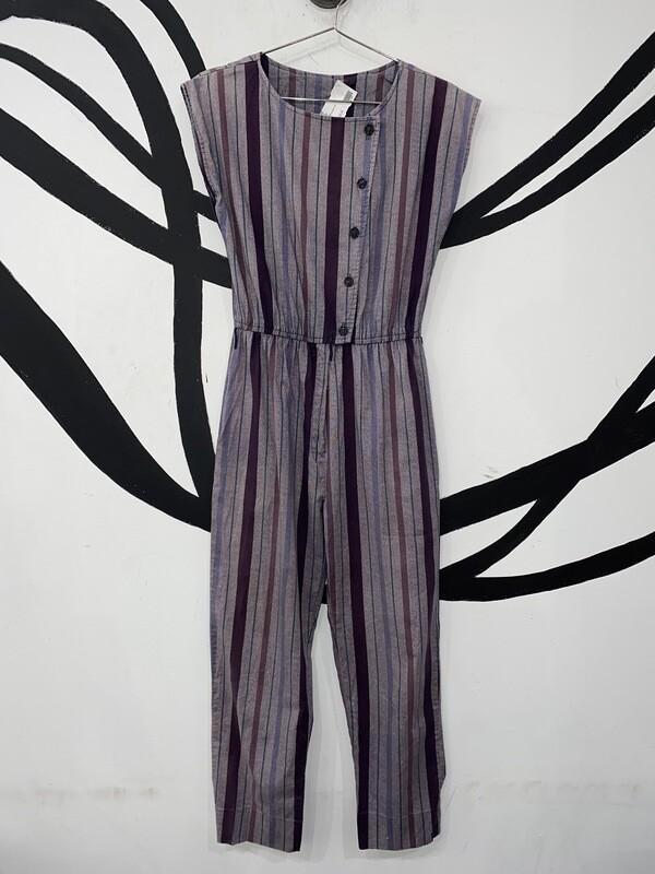 Offset Button Striped Jumpsuit