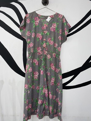 Floral Houndstooth Button Up Midi Dress Size M