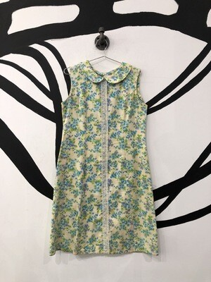 Collared Floral 60s Dress Size M