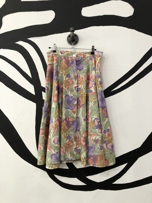 Floral Crystal Button Midi Skirt Size L