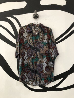 Abstract Short Sleeve Button Up Size M