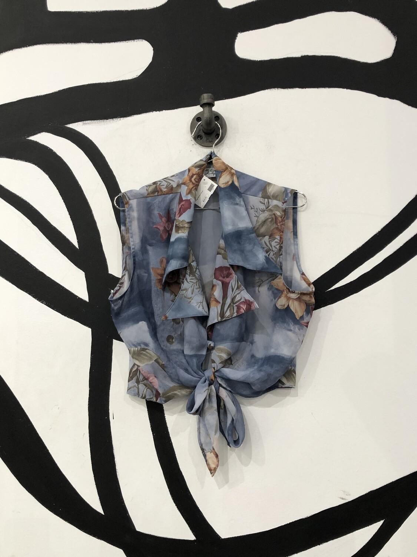 Floral Tie Front Crop Top Size L