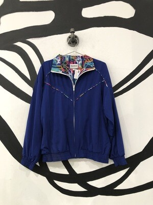 Blue Windbreaker With Contrast Collar Size S