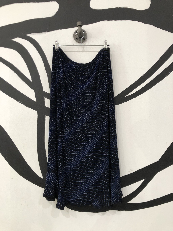 Sparkly Black Midi Skirt Size L