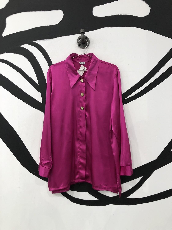 Fuchsia Silk Button Up Size L