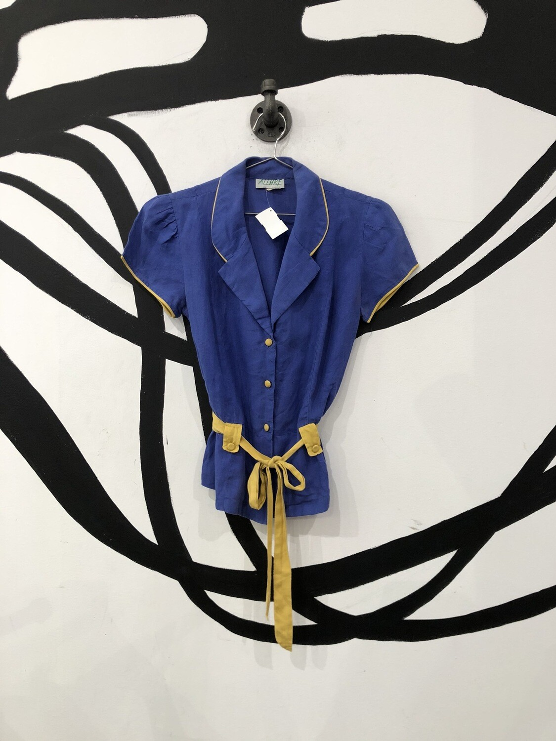 Blue And Yellow Linen Belted Top Size S