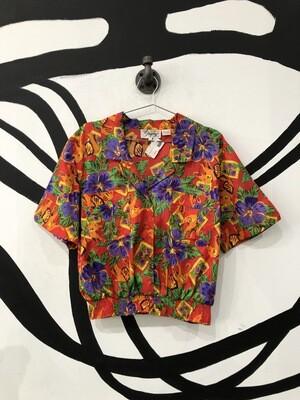 Hawaiian Floral Print Banded Top Size L