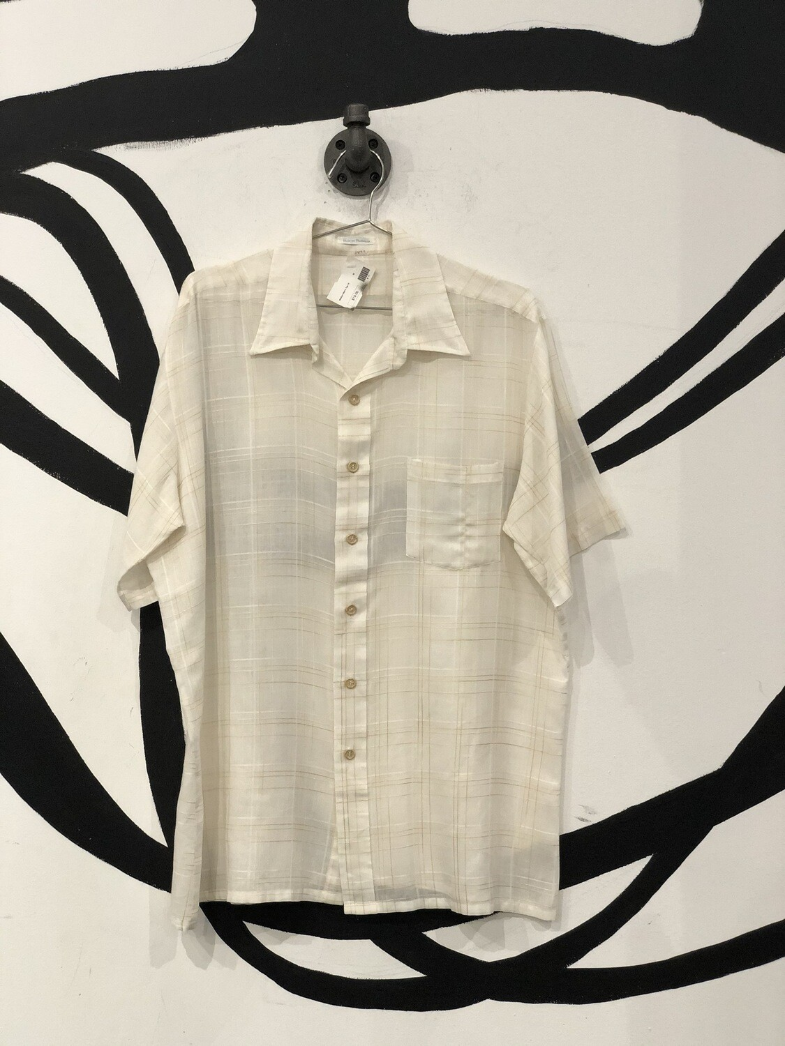 Sheer White Plaid Stitched Short Sleeve Button Up Size M
