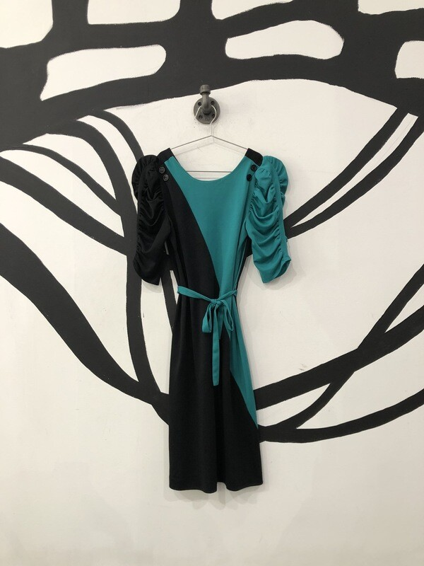 Black And Teal Tie Dress Size M