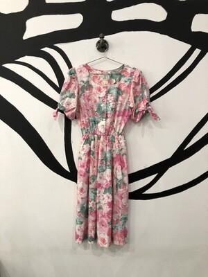 Floral Tie Sleeve Dress Size M